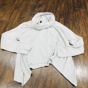 90 Degree grey cowl neck asymmetrical hoodie